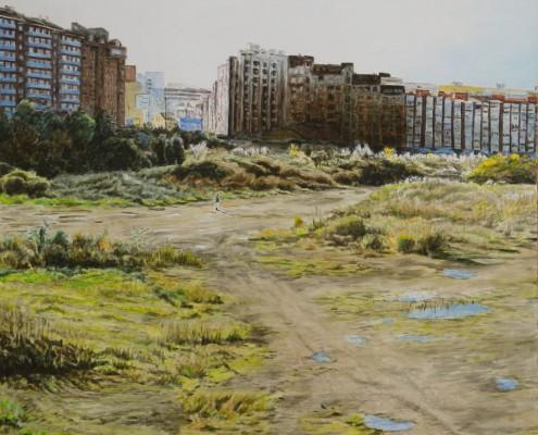 Ölbild: Blick auf Aviles, Asturien, Teil 1, 63 x 63 cm, 2011