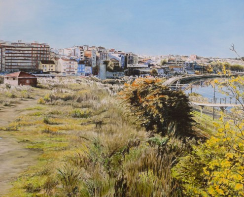 Ölbild: Blick auf Aviles, Asturien, Teil 2, 63 x 63 cm, 2011