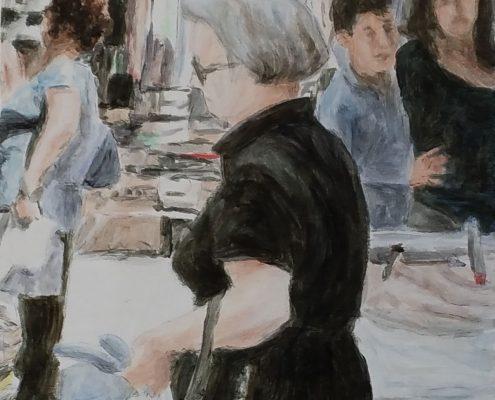 Impressionen Markt Macerata Feltria 2, Öl auf Holz, 10 x 10 cm, 2017