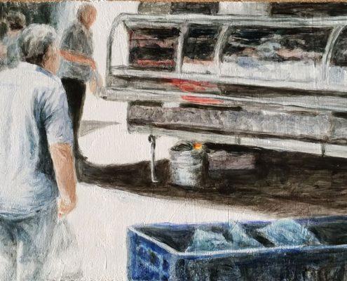 Impressionen Markt Macerata Feltria 5, Öl auf Holz, 10 x 23 cm, 2017