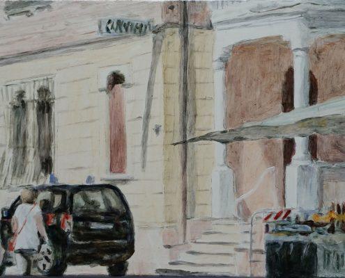Impressionen Markt Macerata Feltria 4, Öl auf Holz, 10 x 13 cm, 2017