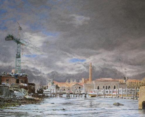 Ölbild: Venedig, Blick auf das Arsenal, Öl auf Holz, 63 x 81 cm, 2016