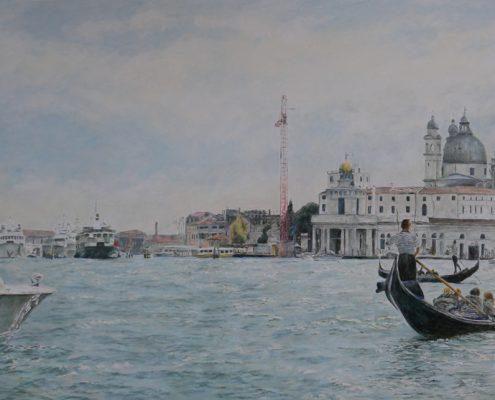 Ölbild: Venedig, Santa Maria della Salute, Öl auf Holz, 55 x 98 cm, 2013 (Ausgangsfoto von Henrike Panke)
