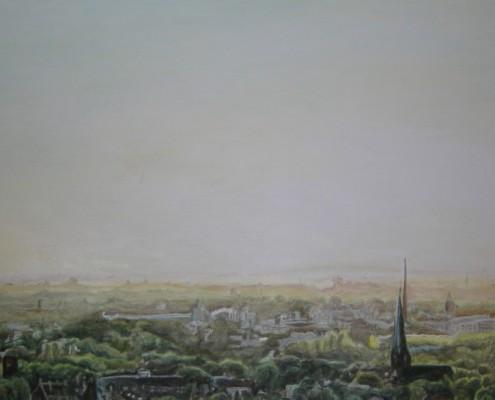 Ölbild: Bochum, Blick vom Tippelberg, Teil 1, Öl auf Holz, 100 x 60 cm, 2007