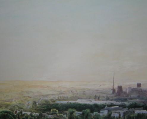 Ölbild: Bochum, Blick vom Tippelberg, Teil 2, Öl auf Holz, 100 x 60 cm, 2007