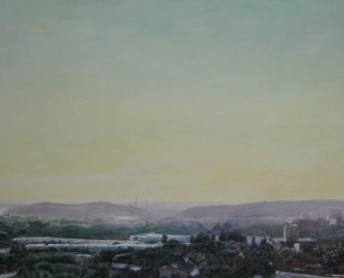 Ölbild Bochum, Blick vom Tippelberg, Teil 3, Öl auf Holz, 100 x 60 cm, 2007