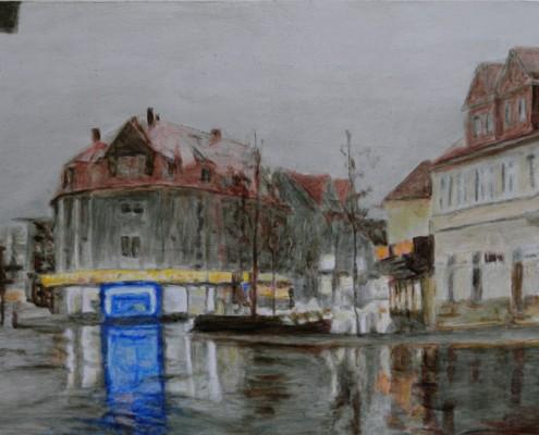 Ölbild Böblingen, Stadtmitte, Öl auf Holz, 20 x 35 cm, 2011