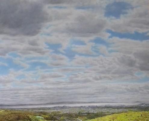 Ölbild, Cardiff und Taffs Wells, Blick vom Garth, Öl auf Holz, 185 x 159 cm, 2015