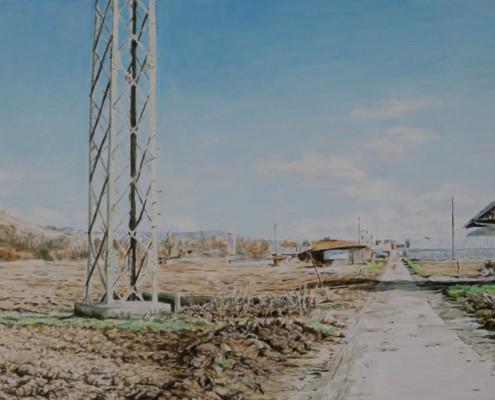 Ölbild: Esslingen-Pliensau, Teil 1, Öl auf Holz, 38 x 80 cm, 2012