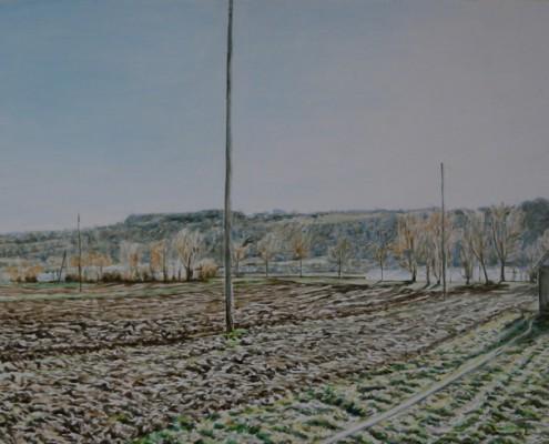 Ölbild: Esslingen-Pliensau, Teil 2, Öl auf Holz, 38 x 80 cm, 2012