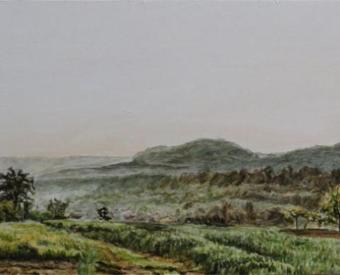 Ölbild: Fuchseck, Aichelberg und Bossler frühmorgends, Öl auf Holz, 20 x 50 cm, 2012