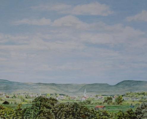 Ölbild: Blick nach Heiningen und Staufeneck im Sommer 1995, 41 x 90 cm, 2011