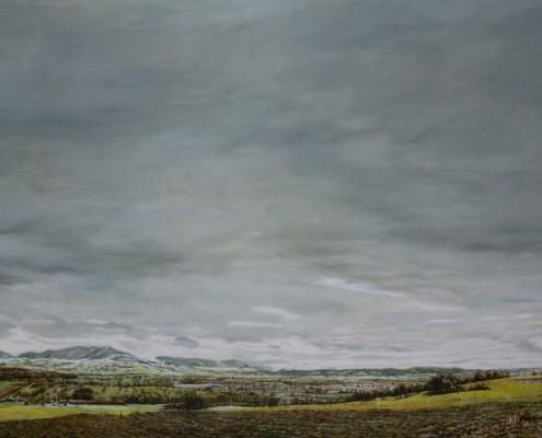 Ölbild: Teck, Kirchheim und Jesingen im Winter, 100 x 143 cm, 2009