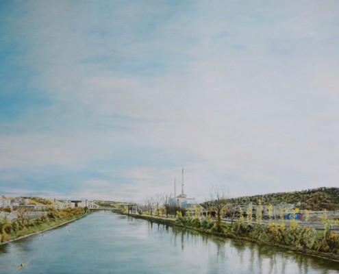 Ölbild: Kraftwerk in Stuttgart-Gaissburg, Ausschnitt, Öl auf Holz, 115 x 150 cm, 2009
