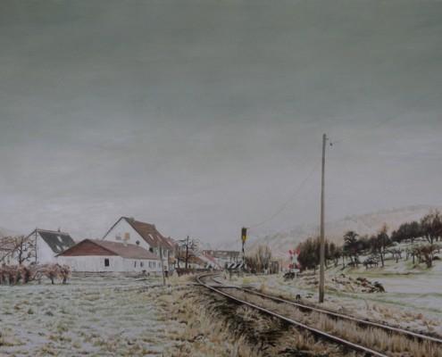 Ölbild: Haltepunkt Brucken im Winter, 64 x 111 cm, 2009