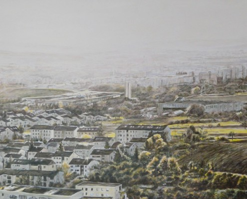 Ölbild: Blick vom Korber Kopf auf Waiblingen, Korb und Stuttgart, Teil 1, 52 x 110 cm, 2011