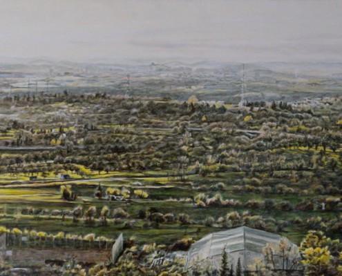 Ölbild: Blick vom Korber Kopf auf Waiblingen, Korb und Stuttgart, Teil 2, 52 x 110 cm, 2011