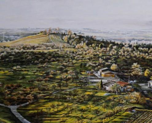 Ölbild: Blick vom Korber Kopf auf Waiblingen, Korb und Stuttgart, Teil 3, 52 x 110 cm, 2011