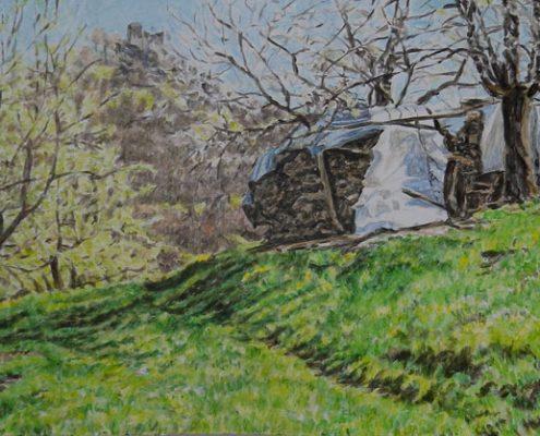 Ölbild: Frühling im Neidlinger Tal mit Blick auf den Reußenstein, 20 x 50 cm, 2014