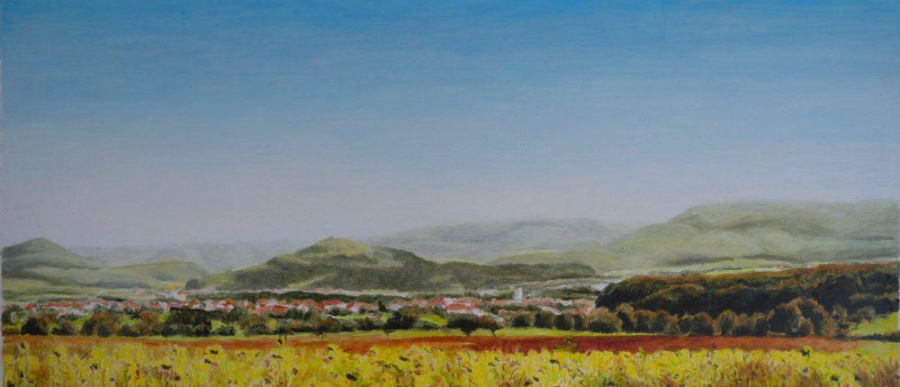 Ölbild: Blick auf Limburg, Weilheim/Teck und Holzmaden im Sommer 2005, 40 x 88 cm, 2006