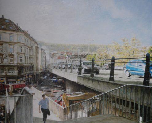 Ölbild: Stuttgart, Paulinenbrücke im Frühjahr 2011, Öl auf Holz, 69 x 80 cm, 2011