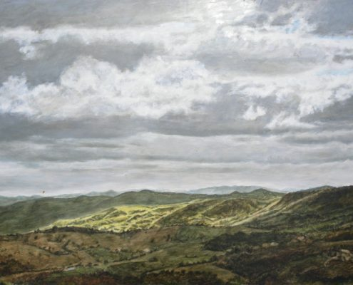 Ölbild, Blick auf Montefiorentino bei Carpegna, 2013