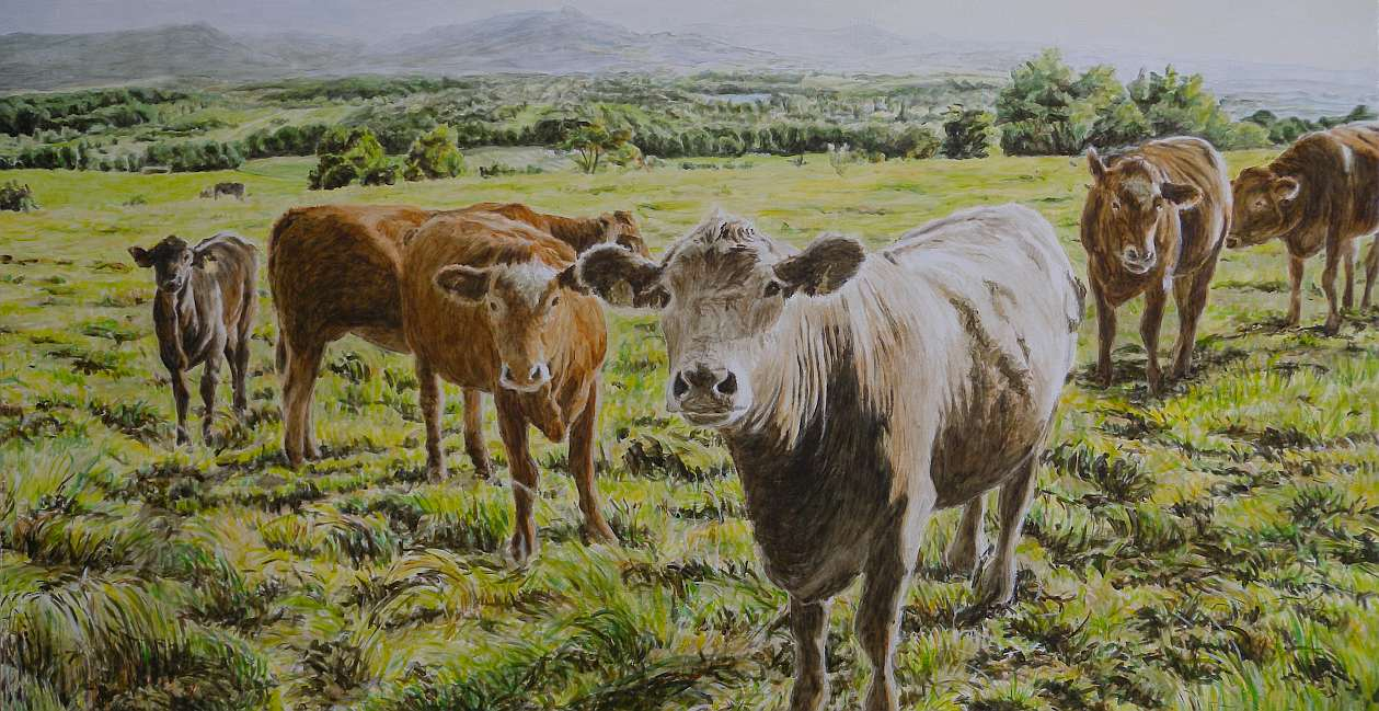 Kühe und Kälber vor der Teck 2010, Öl auf Holz, 40 x 80 cm, 2011