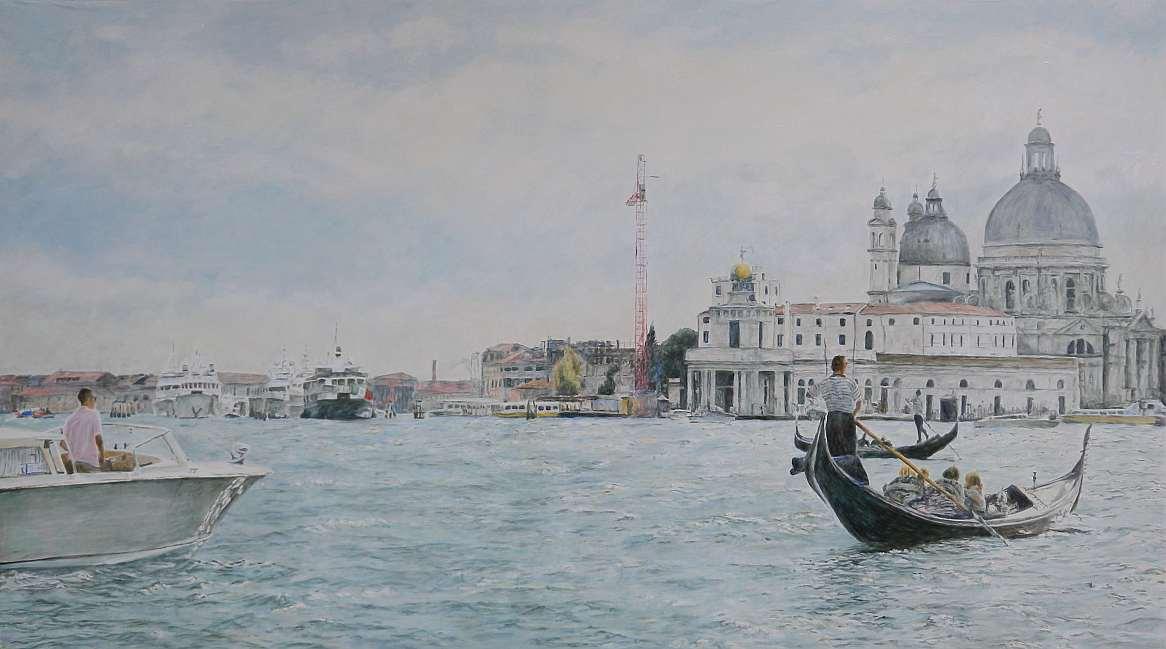 Venedig, Santa Maria de la Salute, Öl auf Holz, 55 x 98 cm