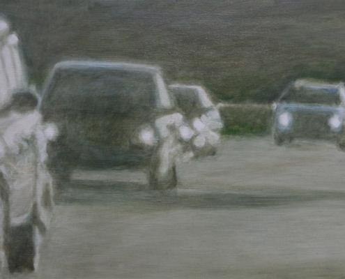 Ölmalerei, Landschaftsbild, A 81 bei Böblingen