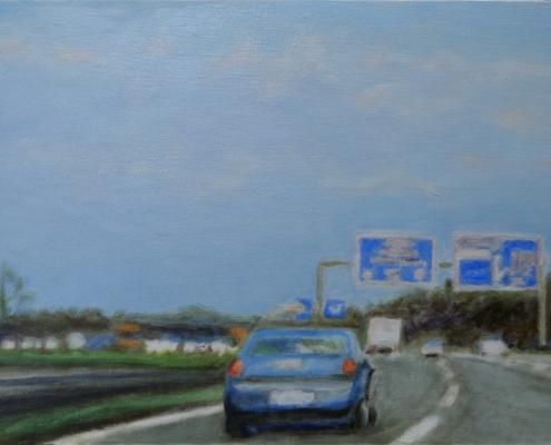 Ölmalerei, Landschaftsbild, A 81 bei Böblingen, morgens