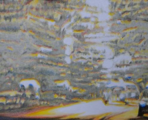 Ölmalerei, Landschaftsbild, A 81 bei Böblingen, abends