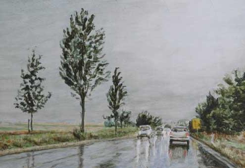 Ölmalerei, Landschaftsbild, Holzgerlingen, Umgehungsstrasse morgens