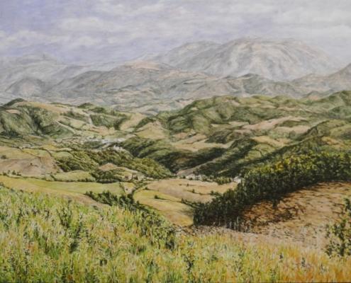 Monte Nerone im Sommer, Öl auf Holz, 59 x 90 cm, 2019